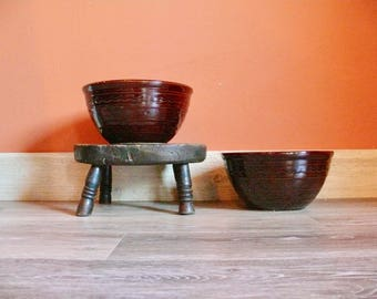 """Marcrest Brown Daisy Dot 9"""" Mixing Bowl, Colorado Brown, Marcrest Old Fashioned Ovenproof Stoneware Serving Bowl, Country Farmhouse Kitchen"""