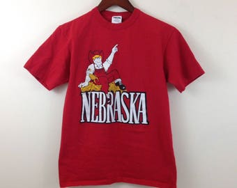Vintage University of Nebraska Cornhuskers Starter All Cotton T Shirt - Size Small - Made in USA