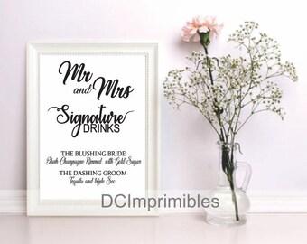 Signage for wedding, drink Bar.