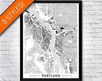 Buildings of Portland map art | Printable Portland map print, Portland print, Portland poster, Portland art, Printable poster, Wall art map