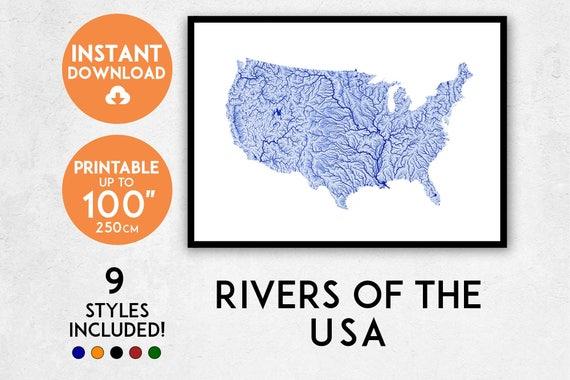 Usa Map Art Printable America Map Print Usa Print America Poster Rivers Usa Wall Art America Wall Art United States Map America Art