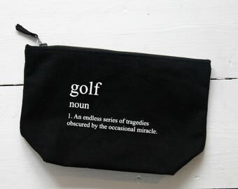 Golf Accessory Storage Bag,Golf Tee Pouch,Large Zipper Pouch,Gift for Golfer,Canvas Wash Bag,Golf Wash Bag,Golfer Toiletry Bag,Golfing Gift
