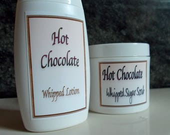 Hot Chocolate Scrub and Lotion Gift Set - Organic Cocoa Butter, Avocado Oil - Natural, Whipped Body Lotion, Sugar Scrub, Spa Set