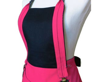Pretty in pink and black woman apron