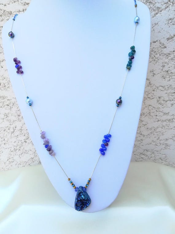 Blue boho chic necklace fine and swarovski beads