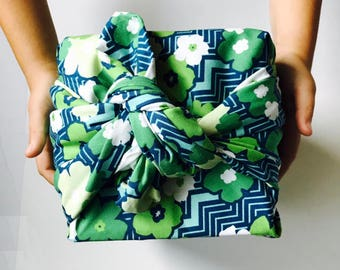 Furoshiki wrapping cloth /  Florals On Chevron