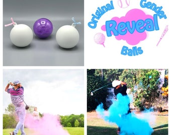 3 Golf Ball Gender Reveal Combo Pack Pink, Blue, and Practice Ball