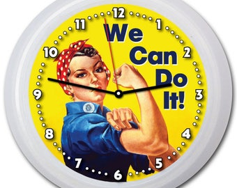 "Inspiring ""We Can Do It"" 9"" Wall Clock w/FREE battery!"