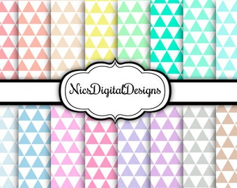 Buy 2 Get 1 Free-16 Digital Papers. Triangles in Pastel Colours (2B no 1) for Personal Use and Small Commercial Use Scrapbooking