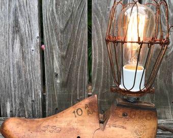 Vintage Wooden Shoe Form Table Light