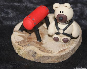 BDSM polymer clay bear with spanking bench