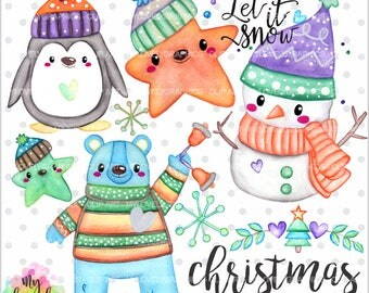 75%OFF - Christmas Clipart, Christmas Watercolor, COMMERCIAL USE, Snow Man Clipart, Christmas Graphic, Kawaii Clipart, Watercolor Clipart