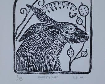 Honesty hare lino print.