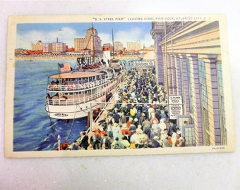 Vintage Post Card Atlantic City S. S. Steel Pier 1935