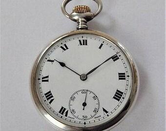 Antique Silver Swiss Lever Pocket Watch - c1924
