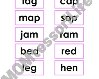 Montessori Pink Series Photo and Word Cards in Black Print (60+ CVC Words)