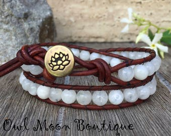 Leather Wrap Double Bracelet Moonstone With Brown Leather