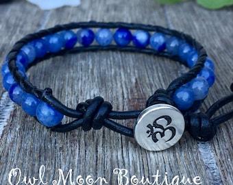 Blue Aventurine Single Wrap Black Leather Bracelet With OM button