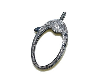 Handmade PAVE DIAMOND 925 Sterling Silver Lobster Clasp Antique Finish over Sterling Silver