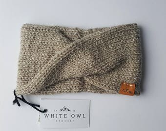 Winter Headband / Linen Speckle Twist Headband / Whiteowlcrochetco Headband