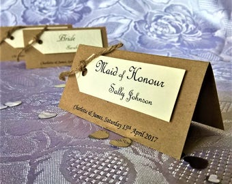 Hand Crafted Personalised 'Amelia' Wedding Table Names Seating Place Cards Sample Rustic Vintage Twine