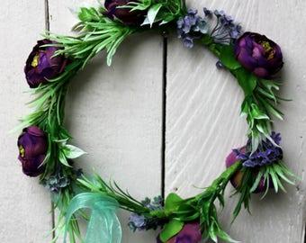 Purple wedding wreath dark purple wreath flower crown dark purple floral crown wedding  purple flower crown purple  bridal flower crown plum