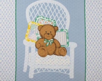 AdorableTeddy Bear on white Chair,baby Panel36x44""