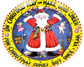 "Mary Engelbreit ""Christmas Comes But Once a Year"" Santa porcelain plate."