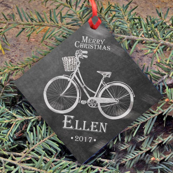Personalized Christmas Ornament, Chalkboard Style, Name and Year, Christmas Tree Ornament, Merry Christmas, Bicycle