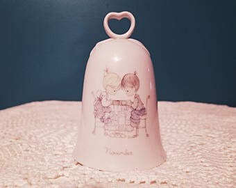 Precious Moments collection, November bell collection by Enesco, boy and girl praying PM bell,  collector bell