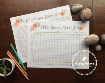 Printable Homeschool Attendance Record - Undated August to July & July to June - Bird and Roses
