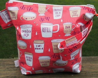 Coffee Jargon Zippered Pouch Knitting Project Bag/ Measuring Tape/ Pockets