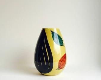 SALE Inger Waage Stavangerflint Norway vintage mid century modern hand painted Scandinavian Pottery medium size Leaf design Vase