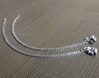 Tribal Indian Anklets | Barefoot anklets jewelry | Linked Chain Anklets | Silver plated anklet | festive gift jewelry | Gypsy anklet | A178