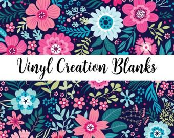 Bright Floral Pattern Printed Vinyl on Navy Background, Printed Patterned Vinyl, HTV and Outdoor Vinyl, HTV, Decal Vinyl, Monogram Vinyl