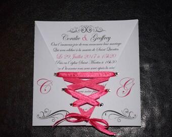 corset Ribbon wedding invitation
