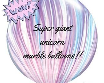 Unicorn Pastel Marble Balloon 76cm Giant Princess Birthday Party Decoration