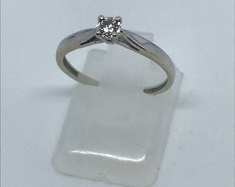 SOLD 18kt white gold diamond solitaire ring 0.10ct