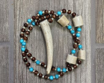 Turquoise and Tortoise Shell Beaded Deer Antler Tine Necklace