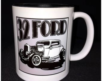 Hot Rod, Custom Car Coffee Mug, Street Rod, Roadster, 32 Ford, Deuce, 3 Window, Whitewall, Chop Top