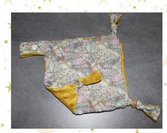 Plush Minky fabric and mustard yellow square/pacifier liberty