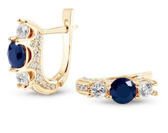 Sapphire gold earrings. 14k gold earrings with natural sapphire. Amazing earrings with natural sapphire. Round sapphire gold earrings.