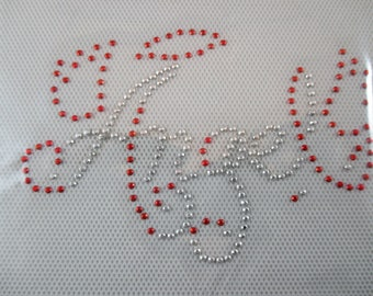 Fusible stone, Angel, red and silver rhinestones.