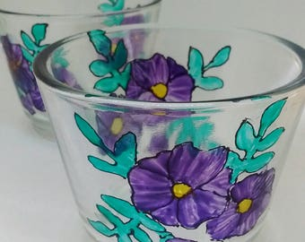 Painted glass,  glass Tealight holders, flowers, floral design, housewarming gift, small gift, thank you gifts. Glassware, little gifts