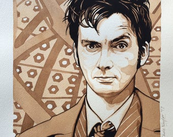 ORIGINAL watercolour/gouache painting of David Tennant (Doctor Who) by Chris Naylor (25% off price for a limited period)