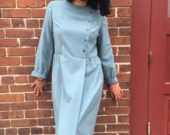 Gorgeous Slate Blue 1970s Dress