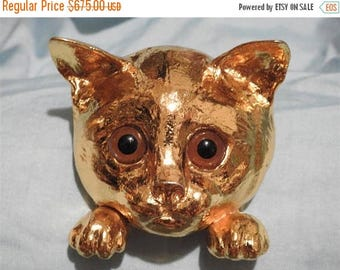 ON SALE extreamely rare 1976 christopher ross 24k gold plate cat belt buckle