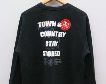 Vintage T&C Town And Country Stay Stoked Surf Designs Hawaii Black Sweater Sweatshirt Size L