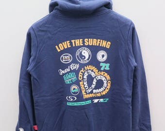 Vintage T&C Town And Country Surf Designs Hawaii Love The Surfing Blue Pullover Hoodies Sweatshirt Sweater Size L