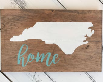 North Carolina State Hand Painted Wood Sign